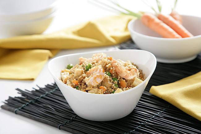 Quinoa 3 delicias con langostinos
