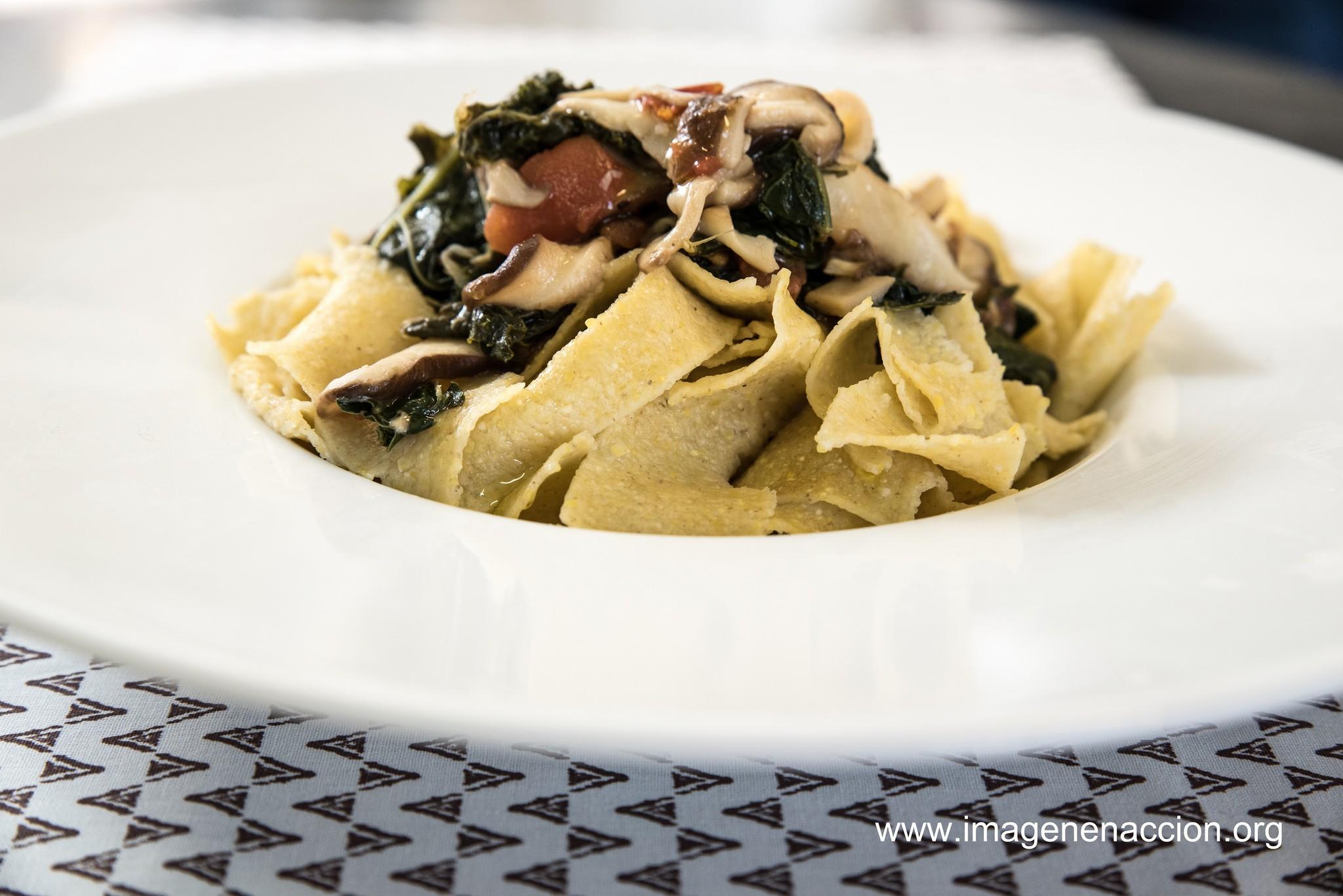 Receta Pappardelle con shitake y kale